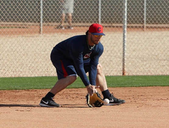 New Indians infielder Mike Aviles -- who signed a new two-year deal with the team on Thursday -- fields a grounder Friday in Goodyear. Aviles was acquired from the Blue Jays in the offseason.