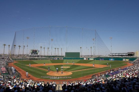 The Indians' Spring Training opener is Feb. 22, against Goodyear Ballpark co-tenant Cincinnati. While the field in Arizona will look like this ...