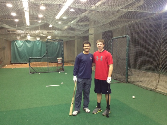 Indians prospects and native Clevelanders Alex Lavisky and Nick Hamilton in Progressive Field's batting cages last week. (Court Berry-Tripp photo)