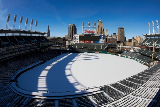 ... here is a view of Progressive Field last week, with a snow-covered turf. Fifty-eight days from today, the Indians open their home schedule against the New York Yankees at 4:05 p.m. (Kyle Emery photo)