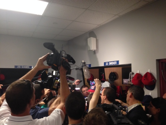 Believe it or not, Nick Swisher is in there somewhere, as he and his teammates met the media on Tuesday evening ahead of the AL Wild Card game.