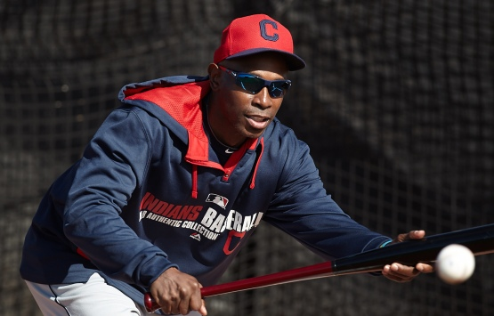 Even guest instructor Kenny Lofton got in a few bunts during drills today.