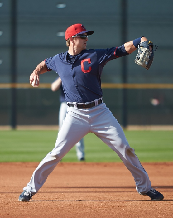 Lonnie Chisenhall makes the throw to first base during ground ball drills.