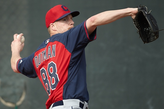 Josh Outman gets in his bullpen session today.