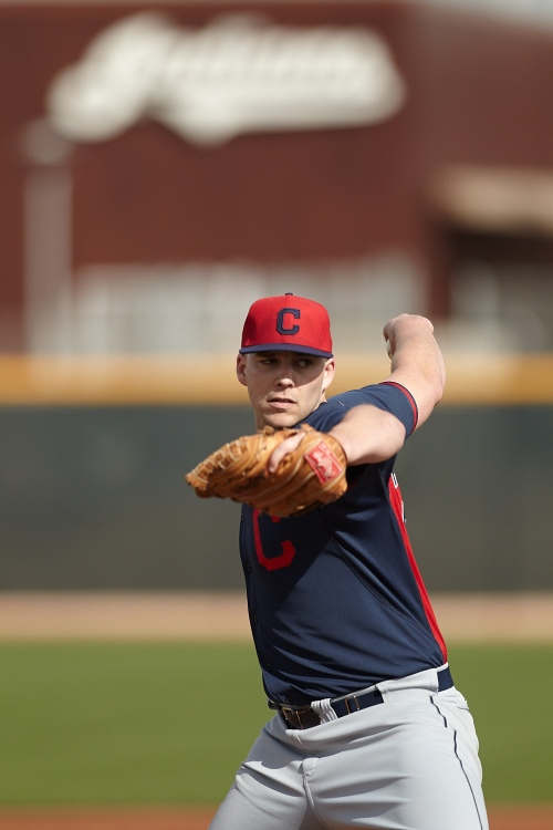 Justin Masterson threw to live hitters for the first time in spring training.