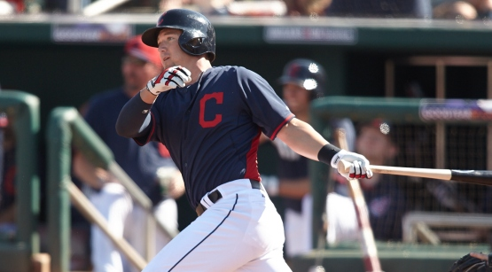 Ryan Raburn hits a double and would later score the Indians first run.