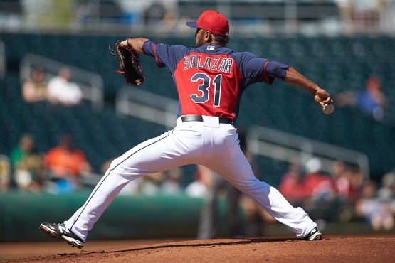 Danny Salazar started the game and went 3.2 scoreless innings.