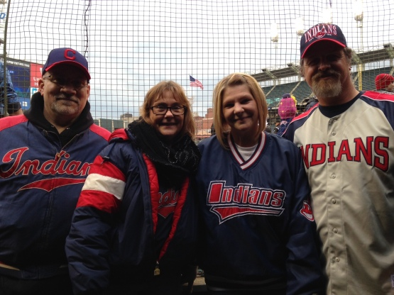 Woody Carl (far right) took in his first Tribe game at Progressive Field on Tuesday. The 22-year Army vet was joined by lifelong friends Paul and Connie Santabarbara, and wife Kristie (second from right).