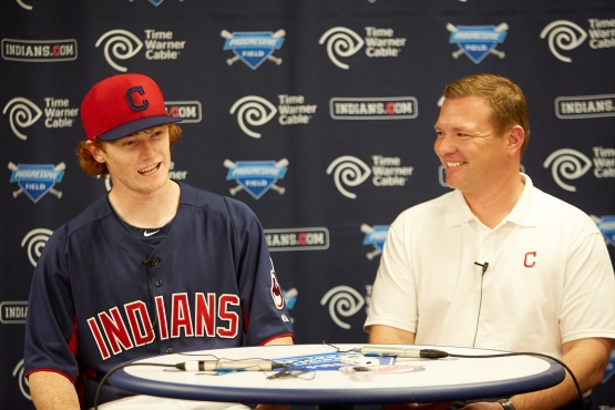 Brad Grant with last year's No. 1 pick, Clint Frazier.