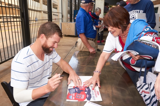 A Tribe fan meets Cy Young favorite Corey Kluber at the Indians annual Season Ticket Holder party.