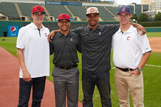 2014 Tribe draft picks (from left) Bradley Zimmer, Justus Sheffield, Bobby Bradley and Grant Hockin