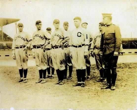 CLEVELAND, OH - JANUARY 1, 1917: Members of the Cleveland Indians take part in a military drill formation (left dress) with Lieutenant Harrison (far right) front row) prior to a game during the 1917 season at League Park in Cleveland, Ohio. (Photo by Cleveland Indians Archives) *** Local Caption *** Stan Covaleski, Fritz Coumbe, Bill Wambsganss, Brown, Lieutenant Harrison, Jack McCallister, Elmer Smith, Otis Lambeth, Lee Fohl.