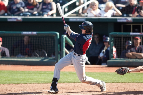 Bradley Zimmer hits a RBI triple in his Cactus League debut.